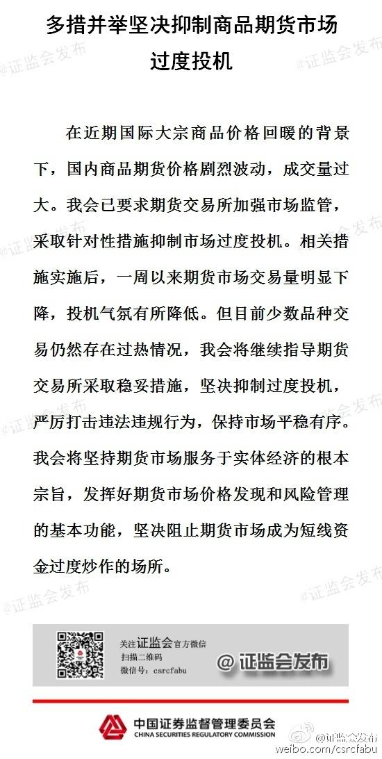 证监会:多措并举坚决抑制商品期货市场过度投机 - 王朝雄 - 王朝雄