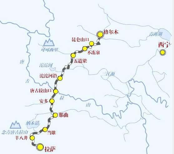 2006年开通的青藏铁路连接青海西宁和西藏拉萨,全长1956千米,是