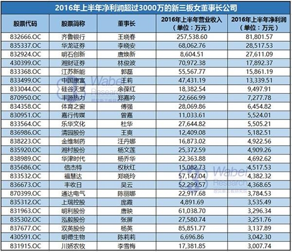 2016年上半年净利润超过3000万的新三板女董事长公司(挖贝网wabei.cn配图)