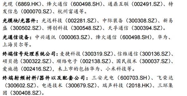 5G产业链公司2