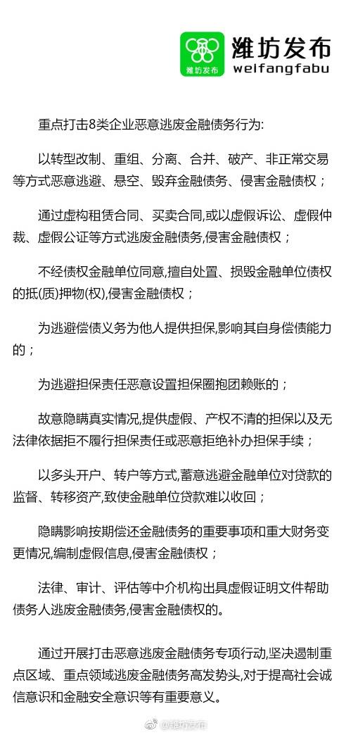 山东潍坊严打八类恶意逃废金融债务行为