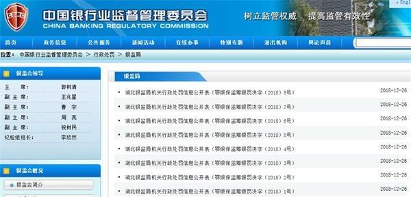 湖北银保监局连发8张罚单:广发银行武汉分行被
