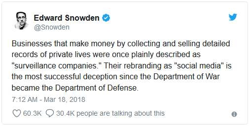 Snowden talks about the theft of 50 million users\' Facebook messages ...