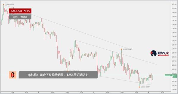 布林格:黄金下跌趋势明显,1256是短期阻力-图表家