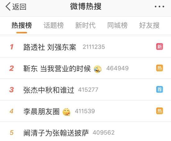 刘强东上微博热搜