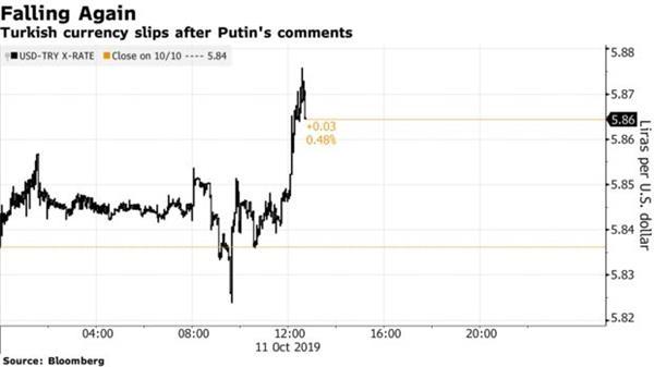 普京对土耳其在叙利亚的行动表示担忧 里拉刷新日内新低