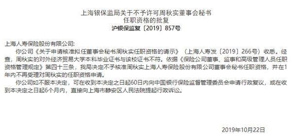 人力资源总监学历也造假 上海人寿拟任董秘任职资格被否 对外经贸大学学历假的?
