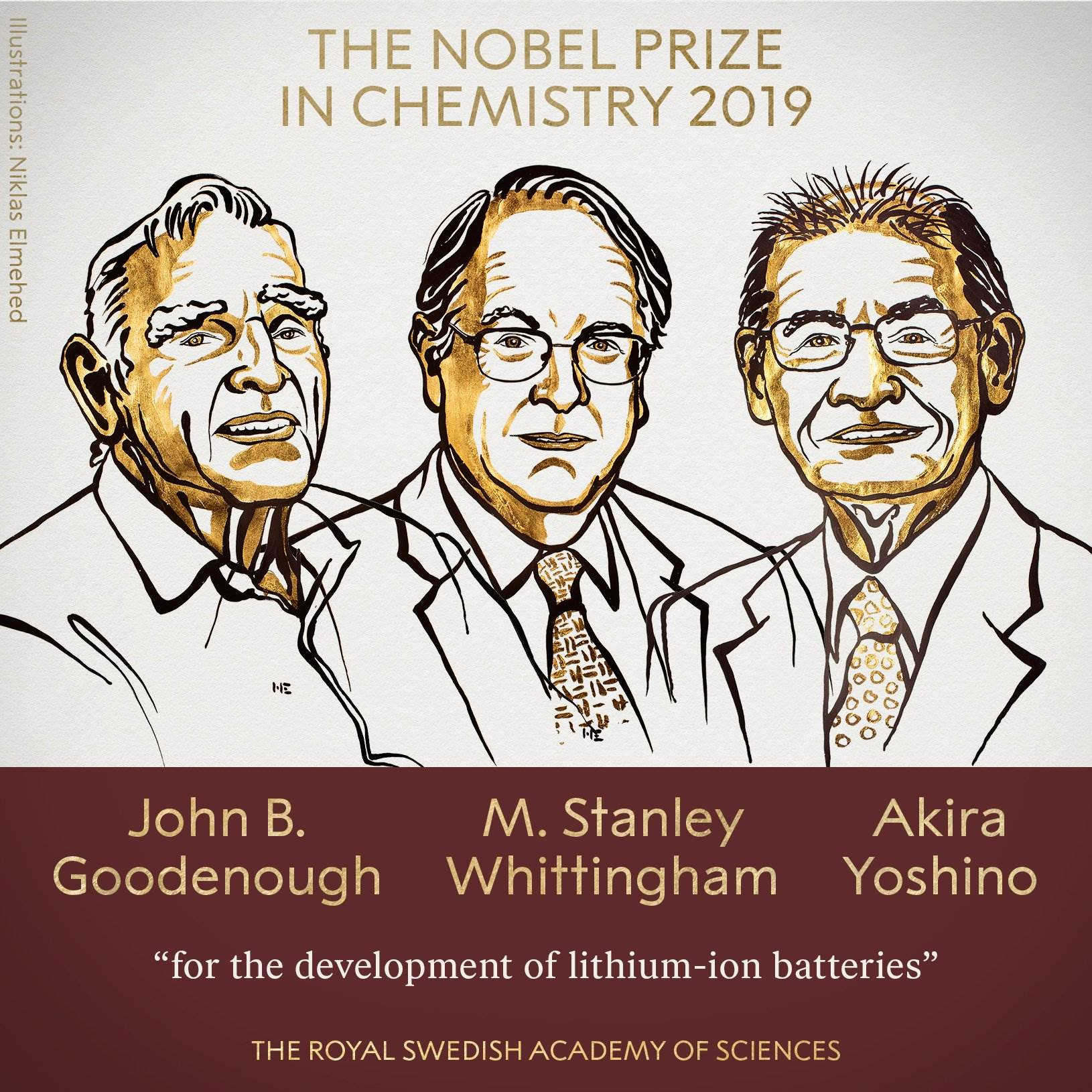 2019年诺贝尔化学奖揭晓!授予三名科学家 表彰在锂离子电池方面的贡献