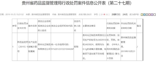 """贵州光正制药2批次""""诺氟沙星胶囊""""抽检不合格被罚23万"""