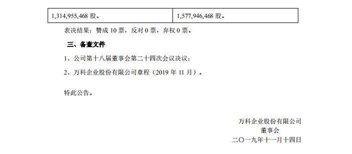 万科A:审议经由过程《依据一般性受权刊行境外上市外资股(H股)计划的议案》