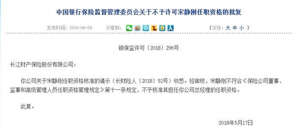 聘任不具任职资格人员担任高管 长江财险遭顶格处罚