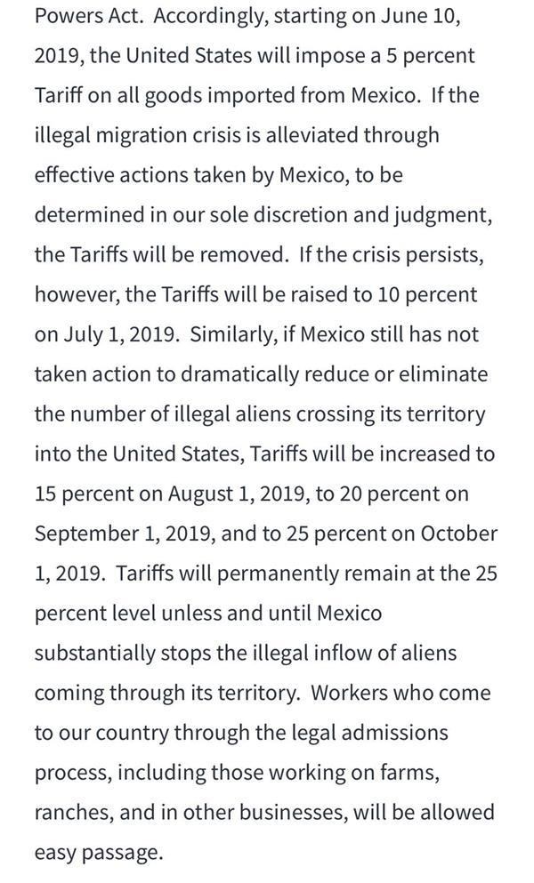 美國將從6月10日起對所有墨西哥輸美商品加征5%關稅