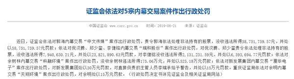 頻繁聯絡公司高層套取內幕 牛散郭海被罰沒1.17億!今年以來已有多位牛散被罰