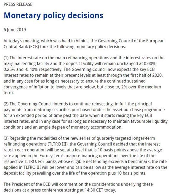 欧洲央行6月利率决议:同意需要为政策宽松做好准备