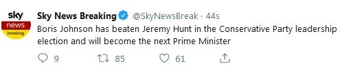 英国前内政大臣鲍里斯·约翰逊中选激进党党魁 将接任英国宰衡