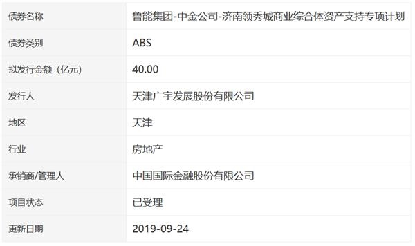 <a href=http://000537.jtxxol.com class=red>广宇发展</a>:40亿元资产支持专项证券获深交所受理-中国网地产