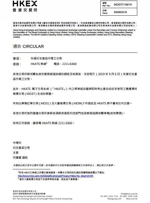 香港交易所:决定于9月6日恢复衍生产品市场交易