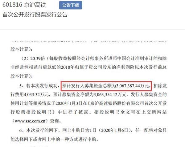 京沪高铁发行价定为4.88元/股 预计募资306.7亿元