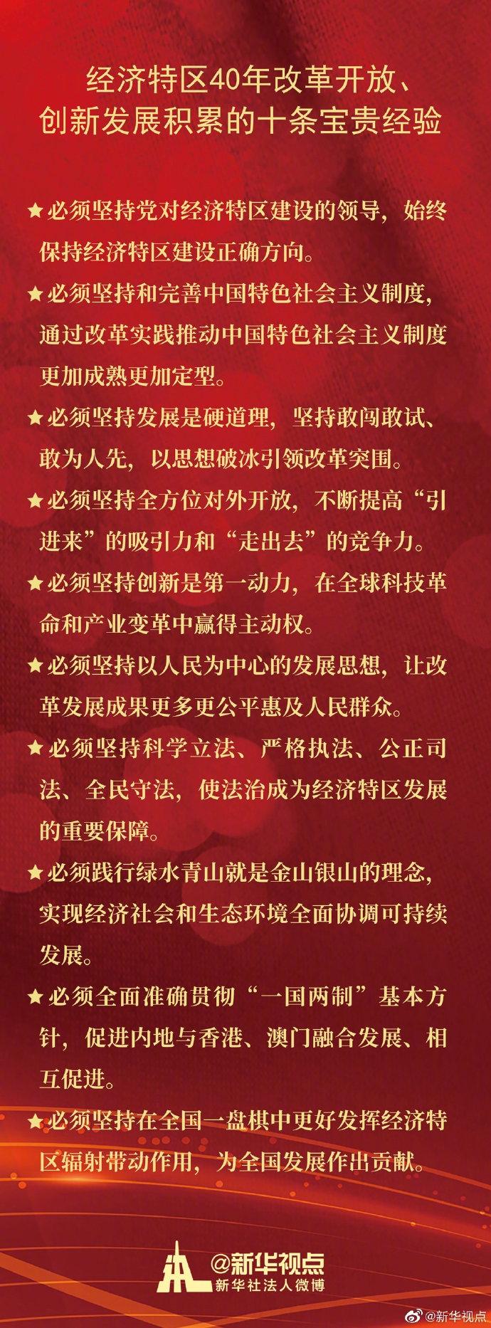 习近平:经济特区在40年的改革开放、创新发展中积累了10条宝贵经验