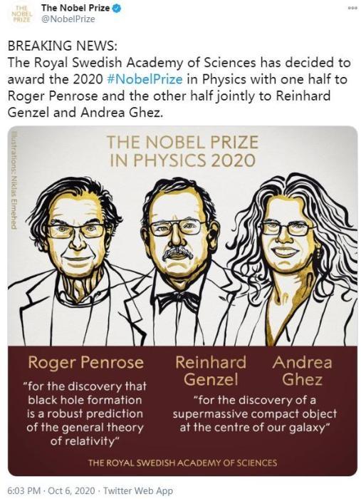 2020年诺贝尔物理学奖揭晓!3位科学家分享奖项