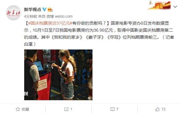 国庆档票房近37亿元 为中国影史国庆档票房第二