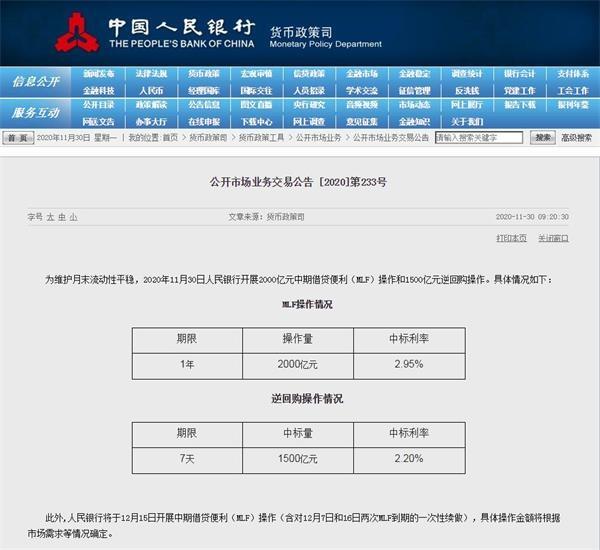 """2000亿""""麻辣粉""""+1500亿逆回购 央行月末出""""大手笔"""""""