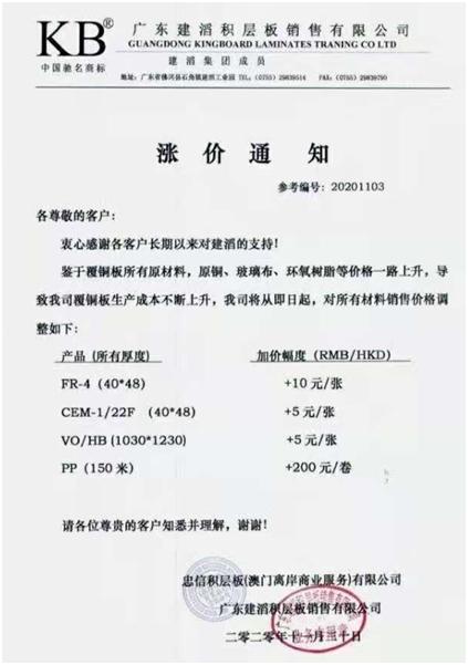 巨头涨价!发布第五轮涨价的PCB关键材料核心概念股(列表)