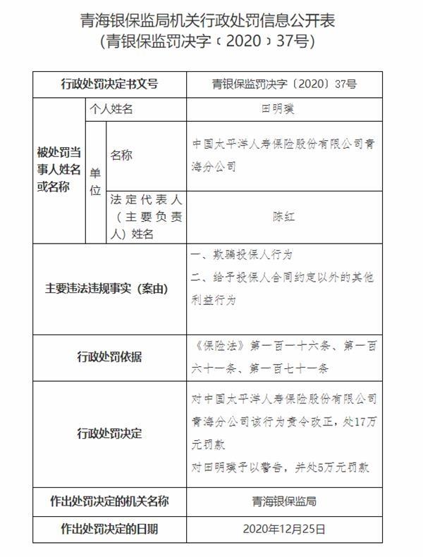 太平洋人寿青海分公司共被罚款23万:欺骗投保人等。