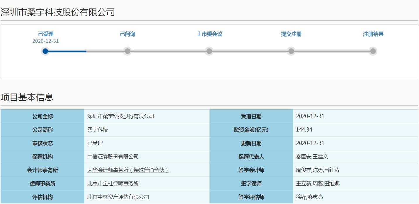 柔宇科技科创板IPO申请获受理 拟募资超144亿元