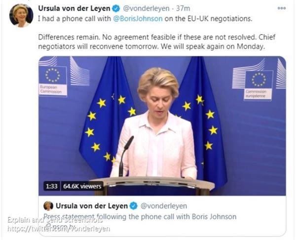 英国首相约翰逊与欧盟委员会主席冯德莱恩进行电话会谈并发表联合声明|外汇买卖入门