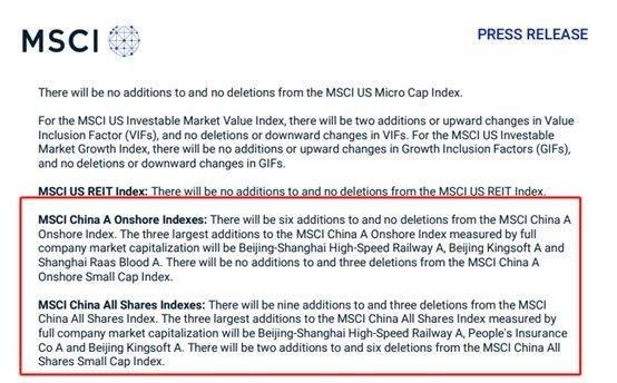 MSCI名单变动 在岸指数新增6股!北上资金节后布局这些股
