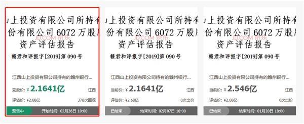 两次股权拍卖流拍之后 拟上市的赣州银行6072万股股权进入变卖流程