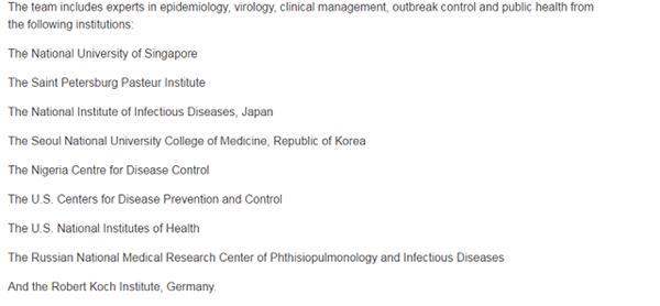 国际专家组来源机构名单