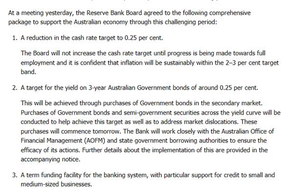 澳大利亚储备银行将基准利率下调至0.25%