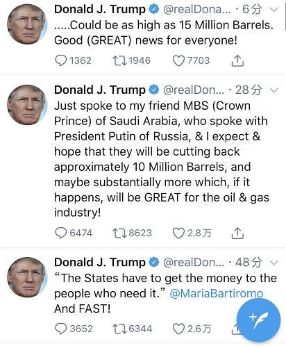 世纪巨震!油价昨夜一度狂飙46% 今日跌声又起!特朗普和沙俄到底谁在撒谎?