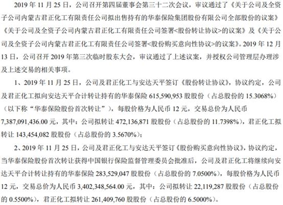 君正集团转让部分华泰保险股份获批 公司临时股东大会决议新添变数 _保险超市_互联网保险