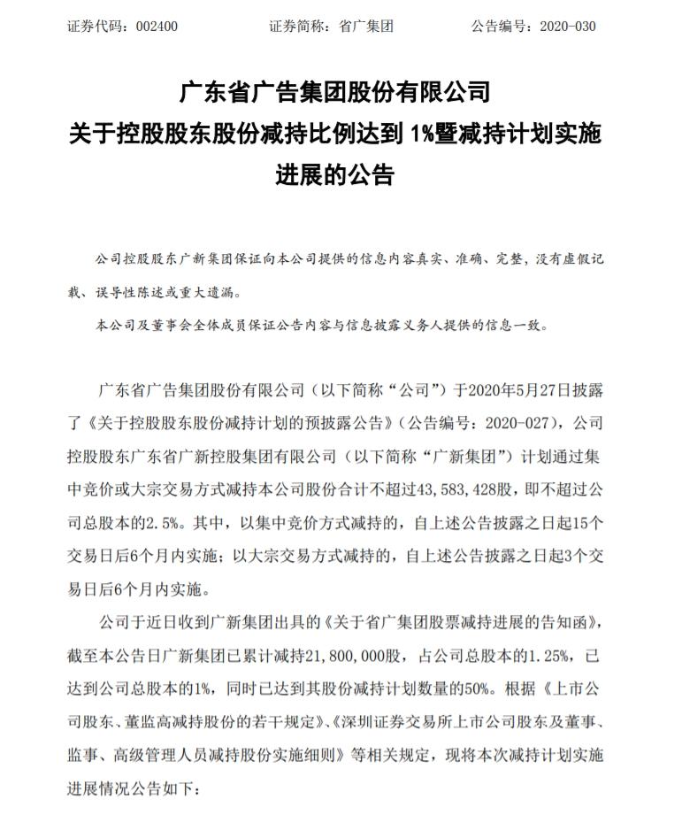 省广集团:公司控股股东大宗交易减持1.25%股份