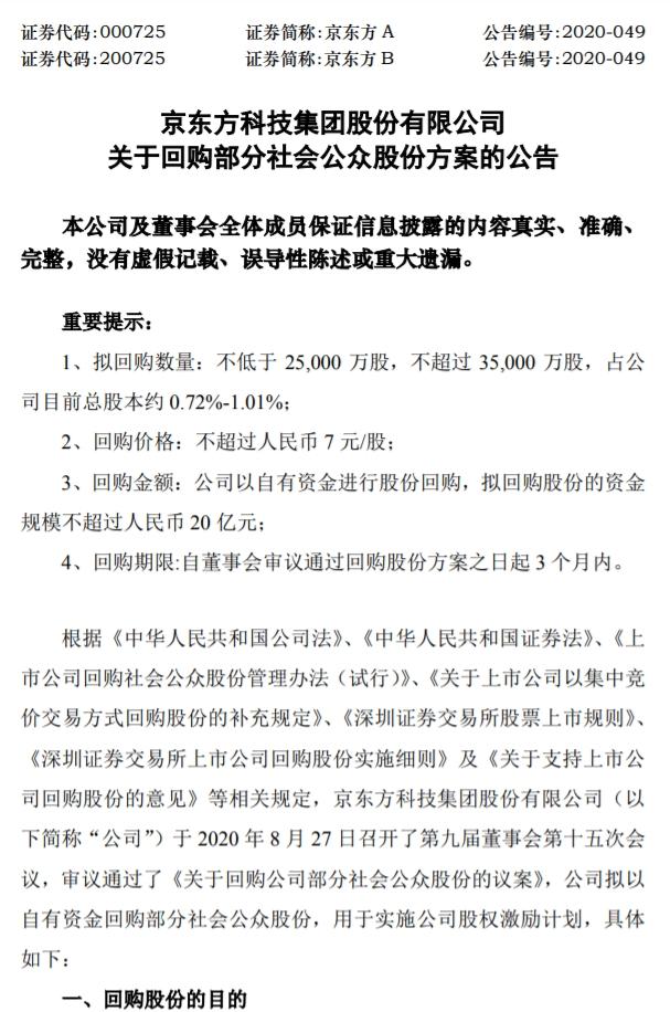 《【无极2娱乐平台注册】京东方A:上半年净利同比降31.95% 拟不超20亿元回购股份》