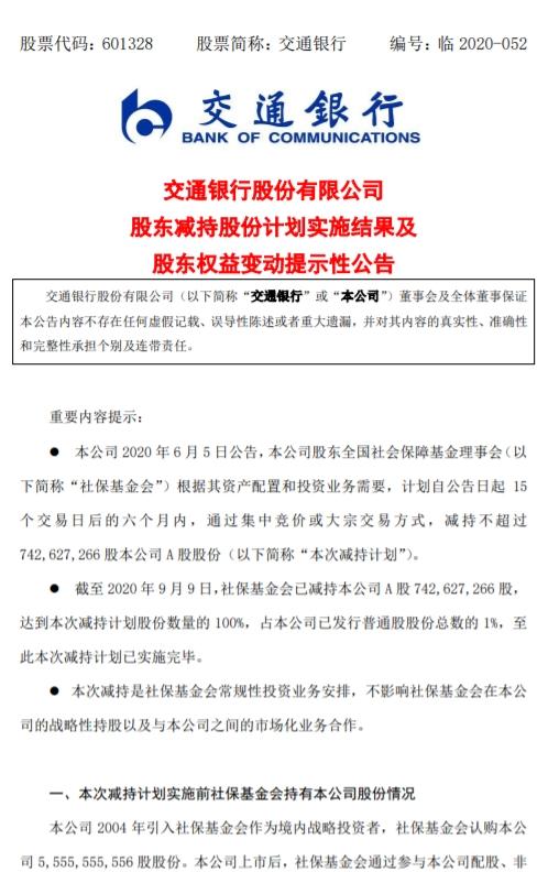 交通银行:社保基金会累计减持1%股份 完成减持计划