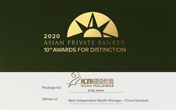 """诺亚控股第四次荣膺《亚洲私人银行家》""""2020中国最佳财富管理机构"""" 大奖"""