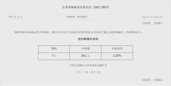"""央行仅投放20亿""""零花钱"""" 春节前降不降准?"""