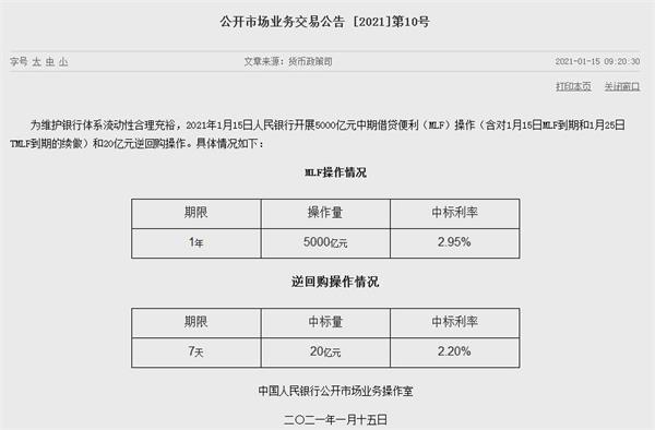 2021年第一碗辣粉!央行进行了5000亿元人民币的多边基金操作