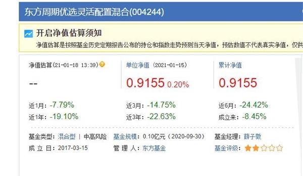 去年亏11.6%今年再亏8.94% 基民对东方基金薛子徵绝望怒吼