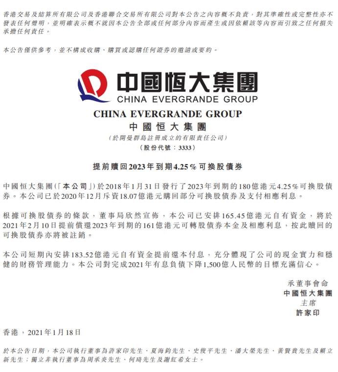 中国恒大(03333.HK)发布公告 再次提前偿债183.5亿港元