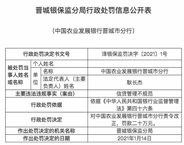 农业发展银行晋城分行被罚20万元:信贷管理不规范