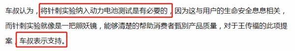 王传福建议将电池针刺实验纳入国家强制性标准!