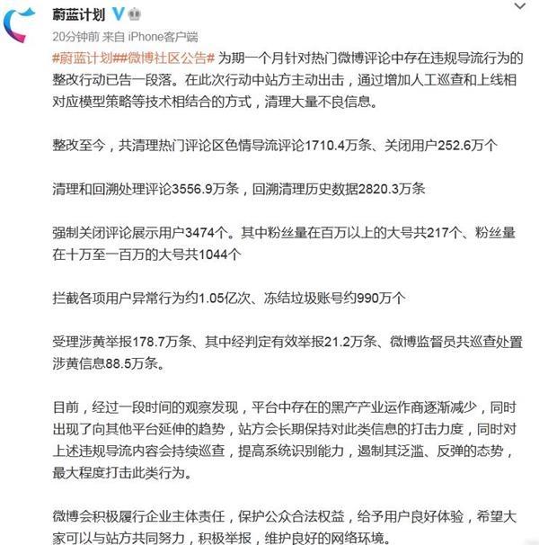 微博通报评论违规导流整改结果:关闭用户超252万个