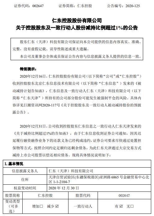 仁东控股(002647)公告 仁东天津近期减持近2%股份
