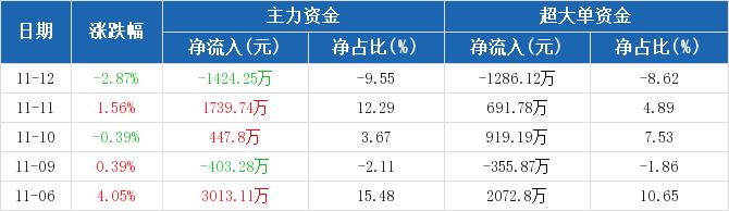 华能国际:主力资金净流出1424.25万元,净占比-9.55%(11-12)图2