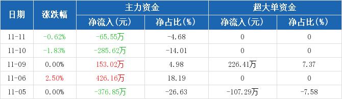 浙江广厦:主力资金净流出65.55万元,净占比-4.68%(11-11)图2